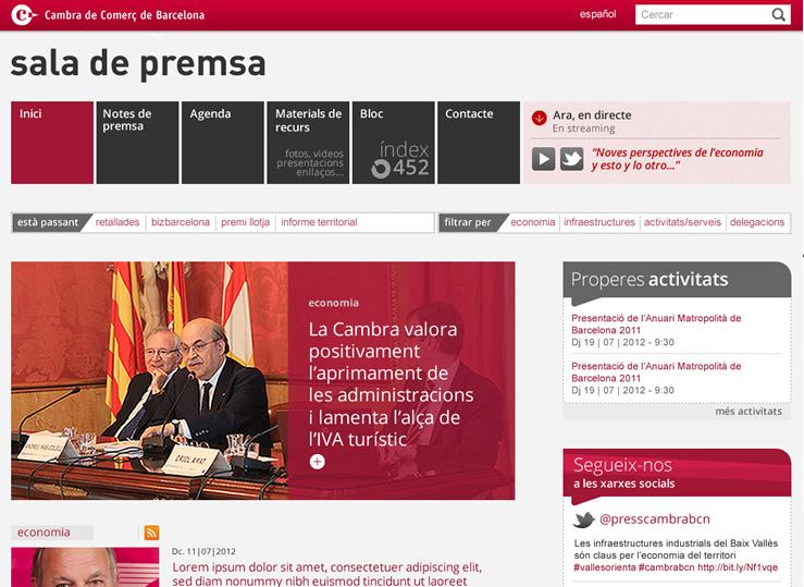 Web de Premsa, de la Cambra de Barcelona